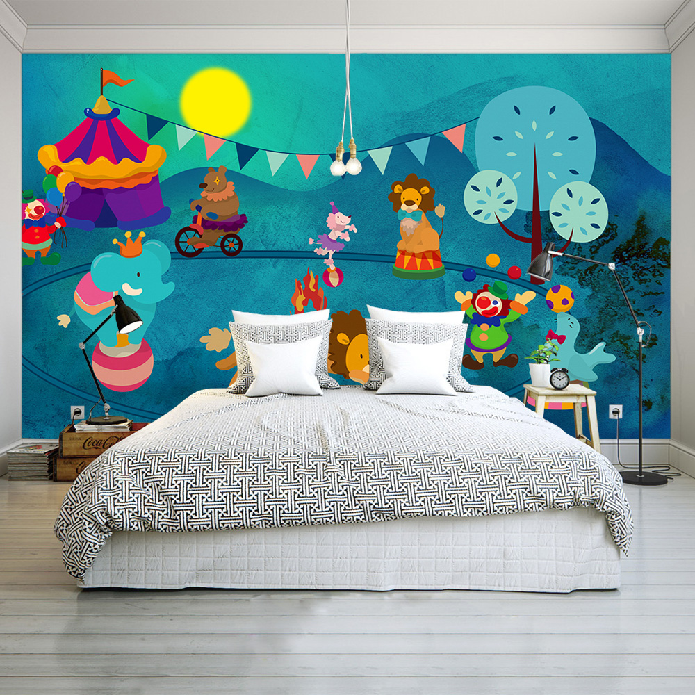 Hand-painted Children Wallpapers 3D Cartoon Animals Fish Mural Photo Wallpapers For Living Room Wall Papers Home Decor Kids Room custom large 3d wallpapers cartoon dog cat animals murals kids walls papers for children room living room home decor painting