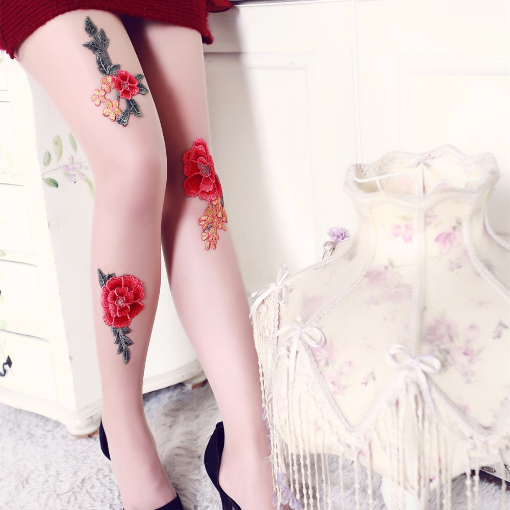Girls Women Sexy Pantyhose Rose Flower Embroidery Ultra Thin Slim Tights Lady Elastic Silk Stockings Hosiery Collant Summer 2018