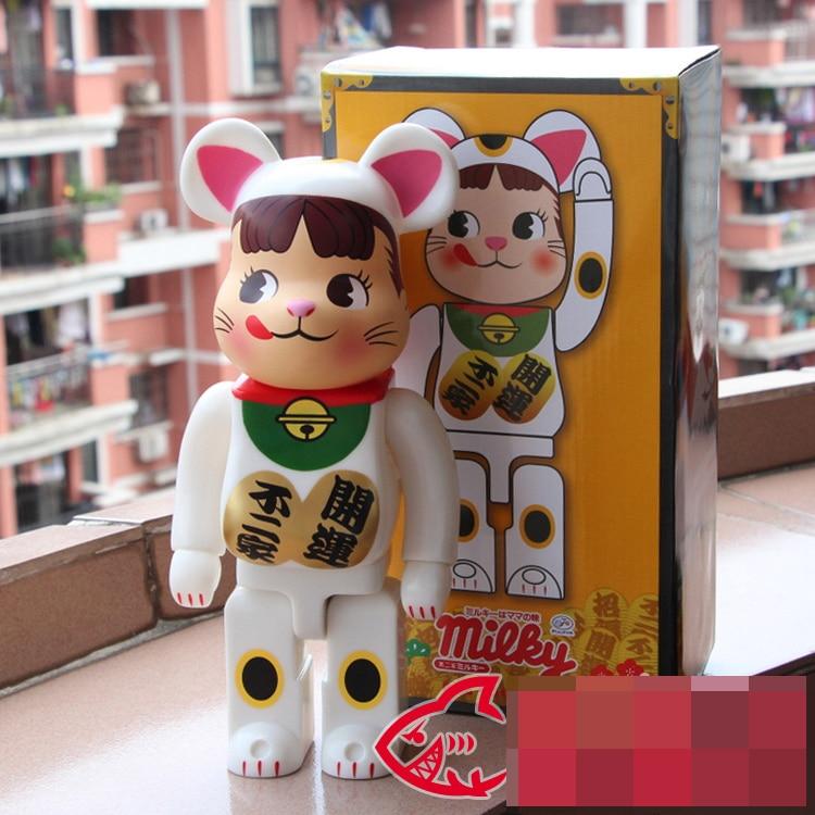 Vinyl Doll Bearbrick Be@rbrick  400% 28CM Milky Lucky Cat PVC Vinyl Art Figure with retail box