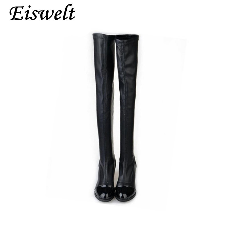 a69208eeea959 EISWELT Womens Over Knee Knee-High Boots Thigh High Boots Black Thick Heel  Thigh Riding