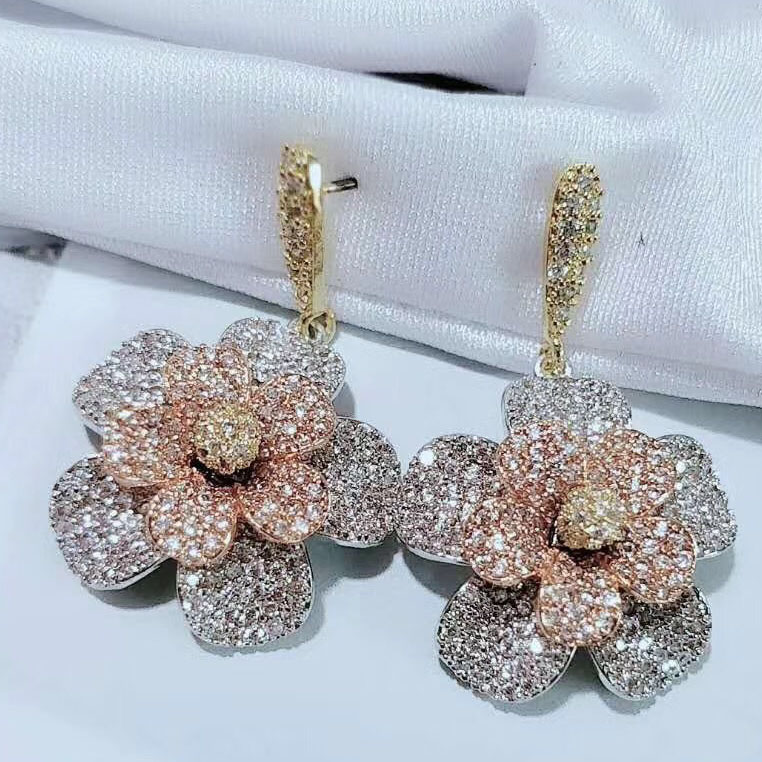 Luxury 3 Color Flower Drop Earrings Silver Color Zirconia Copper Brinco Anel Joyas For Women