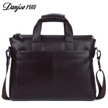 DANJUE Genuine leather men briefcare brand high quality men's business handbags two color real leather soft men laptop bag
