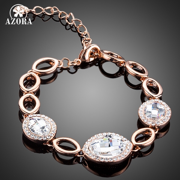 AZORA Water Drop Design Rose Gold Plated Tiny Crystals Around 3pcs Clear Stellux Austrian Crystal Bracelet TS0134