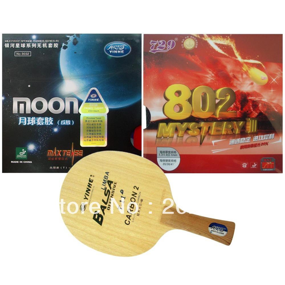 Pro Table Tennis Combo Racket Galaxy YINHE T-11+ with Moon Factory Tuned and RITC 729 802 Mystery III Long Shakehand FL original pro table tennis combo racket galaxy yinhe w 6 moon factory tuned and palio cj8000 biotech shakehand long handle fl