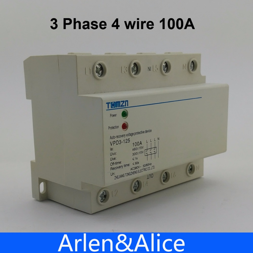 100A 380V Three Phase four wire Din rail automatic recovery over voltage and under voltage protective protection relay white square wall mounted three phase four wire outlet socket plate 380vac 25a