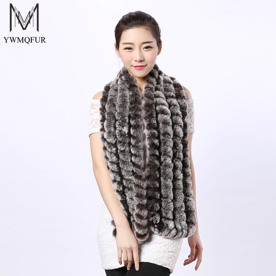 YWMQFUR Women men 100% natural luxury real knitted rex rabbit fur scarf chinchilla color black brown winter cape neck warmer S06