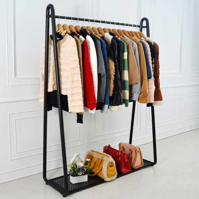Ikea wrought iron clothing rack clothing store shelf floor for Ikea clothes hangers
