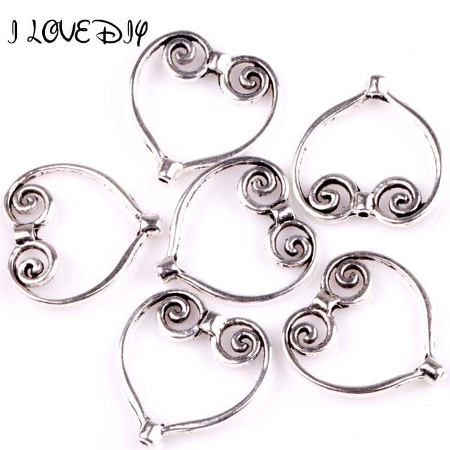 Fashion 40pcs Tibetan Silver Heart Wing Frame Charm Spacer Beads-in ...