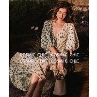 CCCC 2019 Summer Women Floral Maxi Beach Dress Sleeve V Neck Silk Long Dresses Puff Sleeve Bohemian Vintage Green Jurken