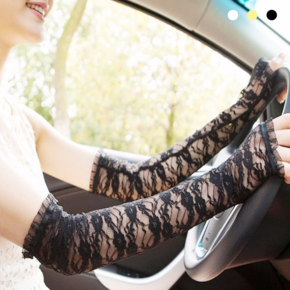 Driving gloves girl - Long Sun Protection Fingerless Gloves Charming Women Lace Hollow Out Mittens Accessories Fashion Driving Gloves