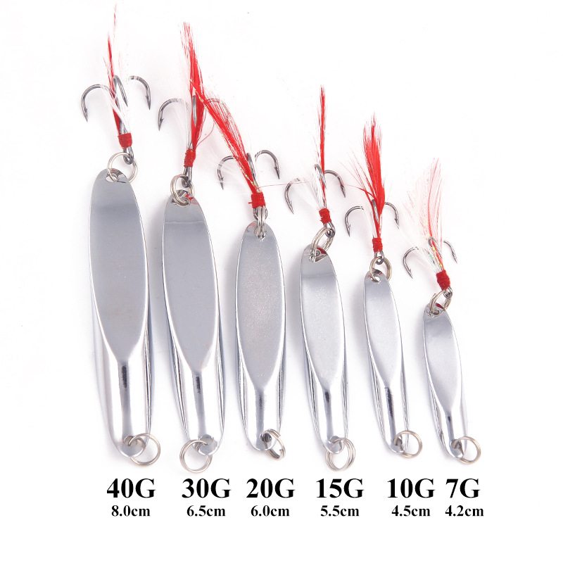 1 PCS Metal Fluorescence/Silver 7g-40g Baubles With Rotating Petal Bait Fishing Hard Sequins With Feather Bass Triple Hook