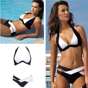 2019 Sexy Black And White Bikinis Women Swimsuit Push Up Swimwear Summer Beach Wear Bikini Set Bandage Bathing Suit