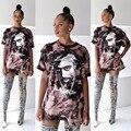 Мода Горячие 2 шт. Цифровой Печати Женщин Рубашка Мини Платье Мода Женщин Топ Рубашка Платья Женщин Топы