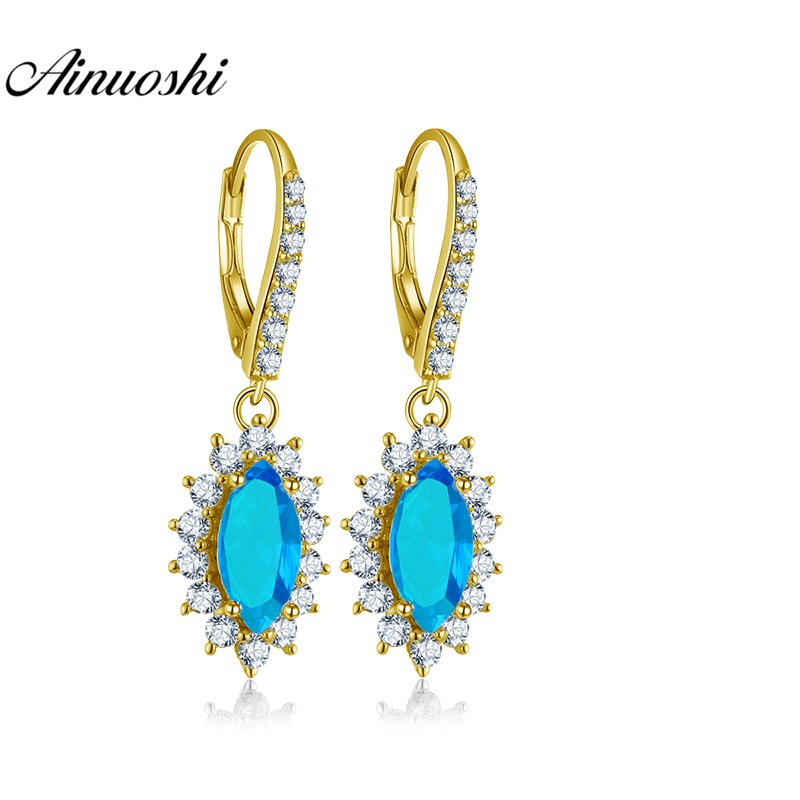 AINUOSHI 10K Solid Yellow Gold Drop Earring Women Jewelry Gifts 2 Carat Marquise Cut Blue Color SONA Diamond Click Back Earring