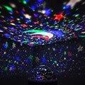 Quarto novelty night light projector lamp rotary piscando estrelado céu da estrela da lua 3d 4led bead 360 graus projetor lâmpadas crianças