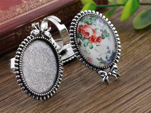 18x25mm 5pcs Antique Silver Plated Brass Oval Adjustable Ring Settings Blank/Base,Fit 18x25mm Glass Cabochons  J3-13