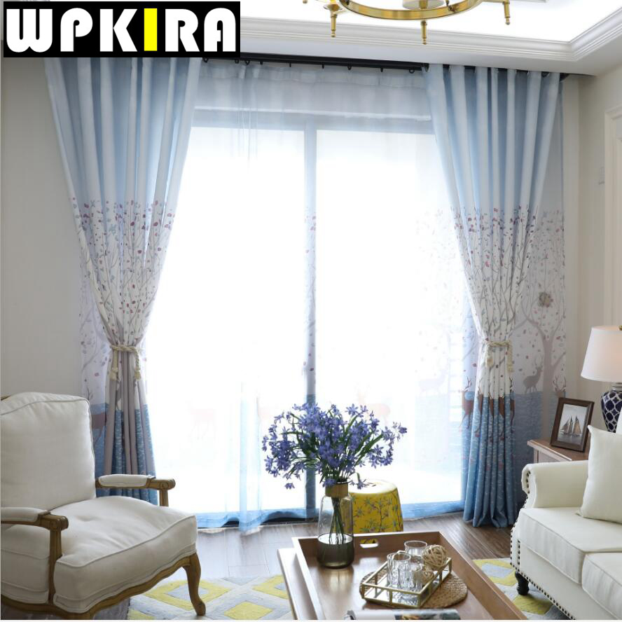 Patterned curtains living room - Sika Deer Tree Patterned Pastoral Purple Curtains Living Study Room Curtain Semi Shade Cloth Sheer Window