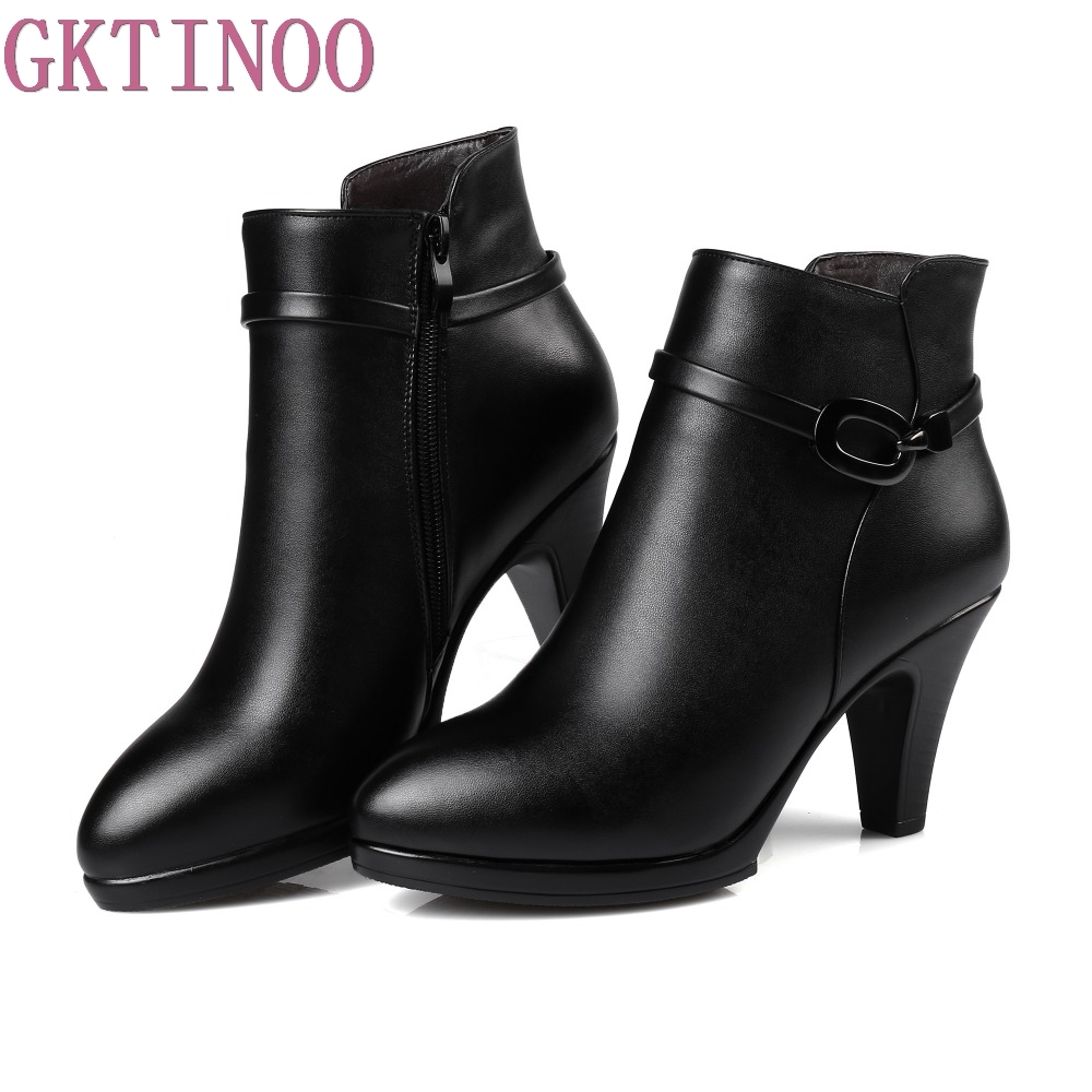 Genuine Leather Women Sexy Boots High Heels Zipper Shoes Warm Fur Winter Boots for Women bling pu leather women sexy boots high heels zipper shoes warm fur winter boots for women x1022 35