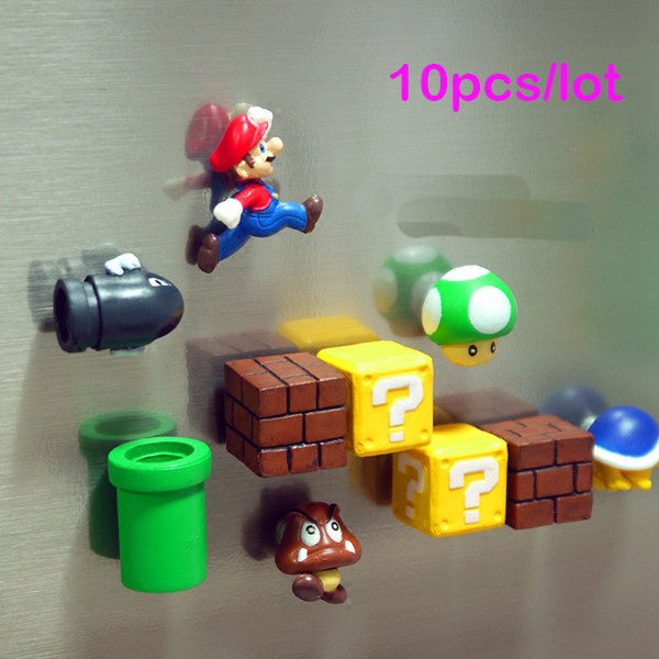 Super Mario Bros Magnets Figure toys Mario Bullet Mushroom Tortoise Wall Sticker Action Figure Model Toys DIY Decoration Gift super mario bros kawaii mario pvc action figure 11cm high red collection model figurine brinquedos kids toys for children boys