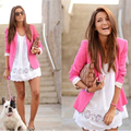 2016 Mulheres Jaqueta Blazer Nova Primavera Fino Top Elegante Design de Curto Blazer Mulheres Trabalho Desgaste Cores Doces Blazers