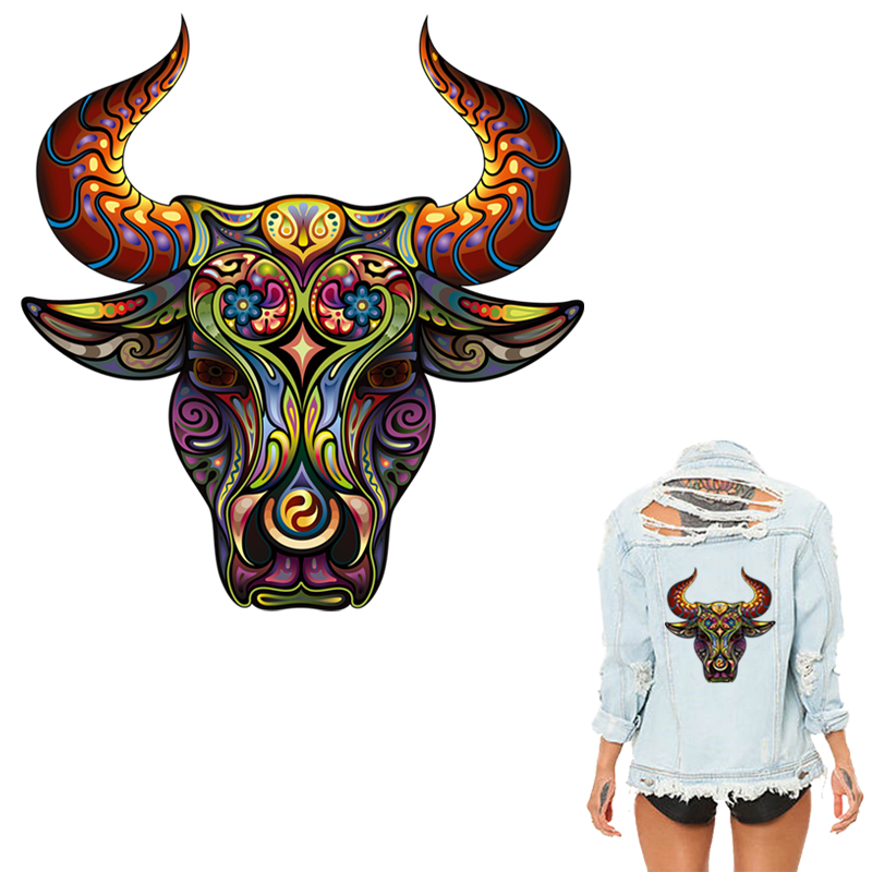 Colife Iron On Patches For Clothing Colors Bull Head Patch Heat Print On T-shirt Jeans Sweater A-level Washable Stickers cabeza de toro de colores