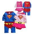 2016 новые дети Хэллоуин костюмы костюм Младенца Супермен Бэтмен Длинным Рукавом Смок Младенческой Ползунки Девочка Мальчик Одежда Наборы