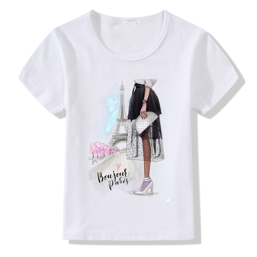 2019 Fashion Paris Tower Print T Shirt Children Cool Girl Short Sleeve Summer Tops Kids O-neck Clothes Baby Tshirt Clothing