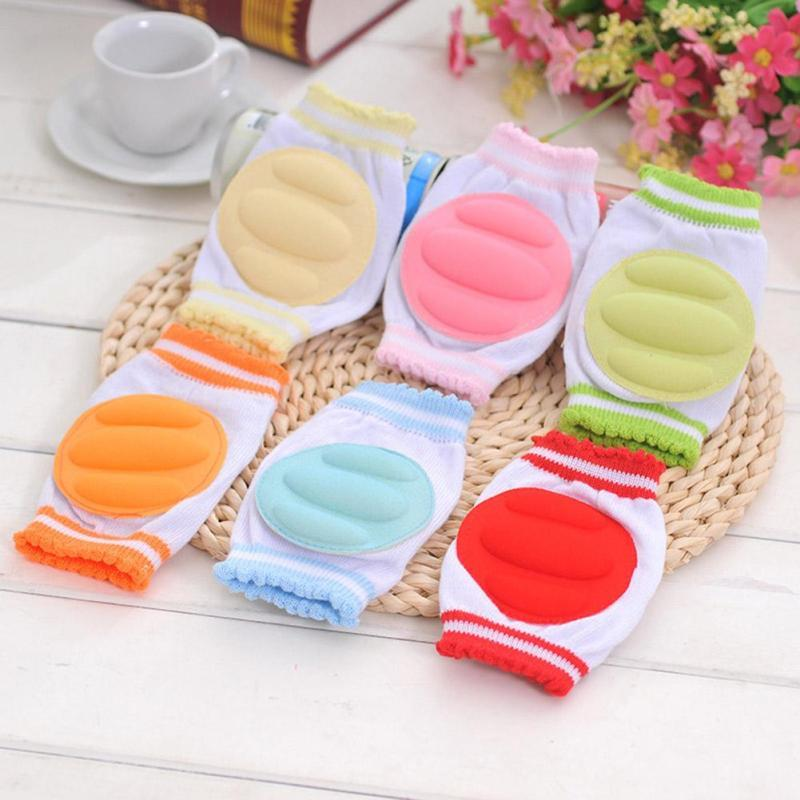 Cotton sponge Baby Crawling Knee Pads Candy colour infant toddler Anti Slip Crawling Protector Baby kids Leg Warmers Gift D3 ...
