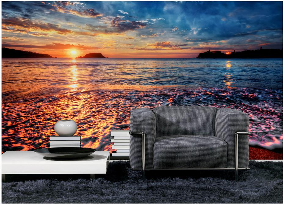 Custom 3d Photo Wallpaper For Walls 3 D Wall Murals The Setting Sun Sunset  Beach Landscape Setting Wall Decoration Home Decor