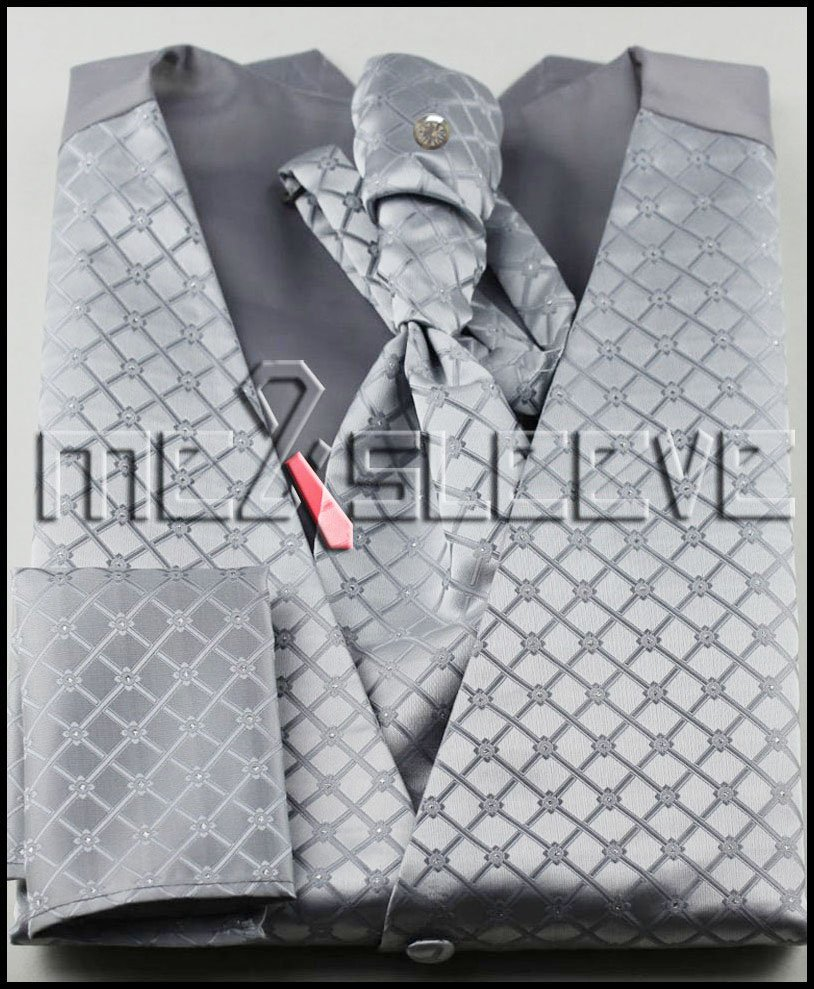 New arrival free shipping woven silver check fabric waistcoat vest ascot tie handkerchief cufflinks