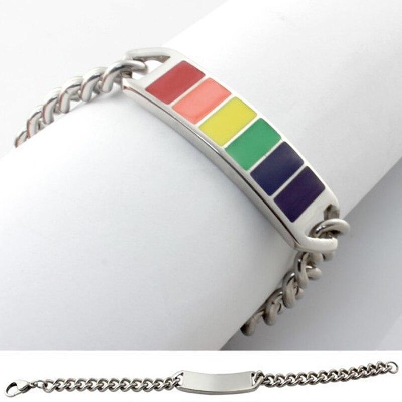 Titanium steel bracelet Epoxy rainbow gay pride label LGBT bracelets & bangles homosexuality friendship jewelry pulseras
