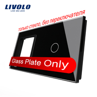 Free Shipping Livolo Luxury Black Crystal Glass 151mm 80mm EU Standard 1 Frame 1Gang Glass Panel