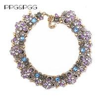 2015 New Fashion Jewelry Women Luxury Za Brand Rhinestone Collar Necklace Purple Crystal Bib Choker Statement