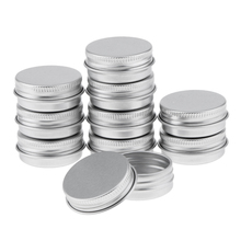 Pack of 10Pcs 15ml Silver Aluminum Round Lip Balm Tin Storage Jars Containers with Screw Cap for Salves Cosmetic Candles