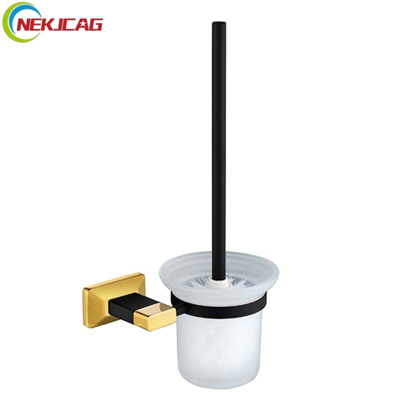 купить Black Gold Toilet Brush Holder Brass Glass Toilet Brush Cup Hoder Bathroom Cleaning Brush Hanger Accessories недорого