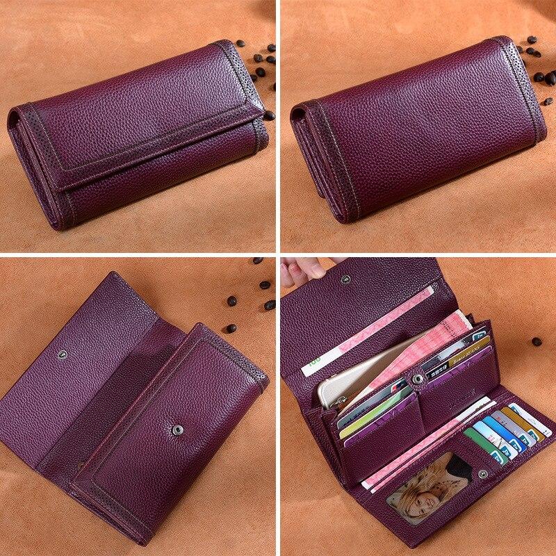 ICEV кошелек из натуральной кожи женский кошелек с выемкой высокое качество воловья кожа держатель для карт карман для сотового телефона женский дневной клатч - 3