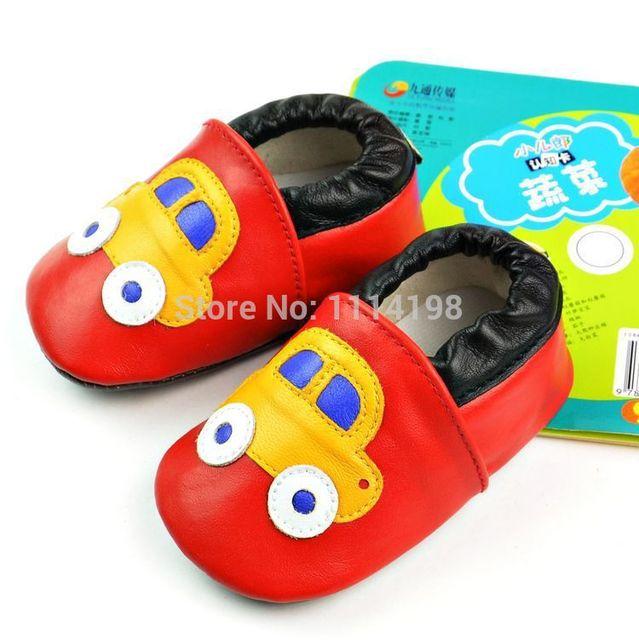 2015 Nuevo coche De Juguete Bebé Mocasines Soft Moccs Bebé Zapatos de Niños Zapatos de Prewalker Del Bebé Recién Nacido Bebé Bebé de Cuero Genuino