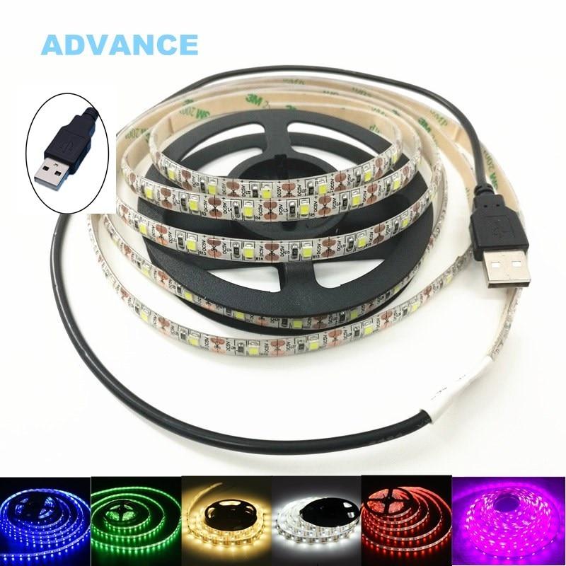 все цены на USB LED Strips SMD3528 light 5V adapter string Christmas desk Decor lamp tape For TV Background Lighting 5V 50CM 1M 2M 3M 4M 5M онлайн