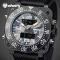 Homens de INFANTARIA Relógios de Luxo Estilo Camo Militar À Prova D' Água Relógios de Quartzo Relojes Rosto Quadrado Analógico-Digital relógio de Pulso Luminoso