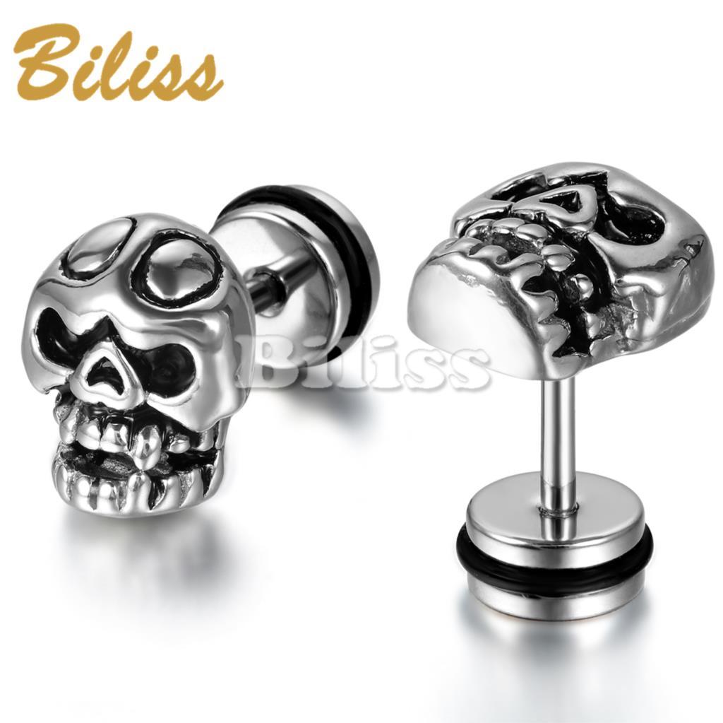 2017 New Stainless Steel Mens Earrings Unique Personality Stud Earrings  Skull Design For Men Boys Brinco
