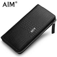 AIM Luxury Men s Business Leather Wallet Crocodile Pattern Vintage Long Zipper Purse for Men Coin