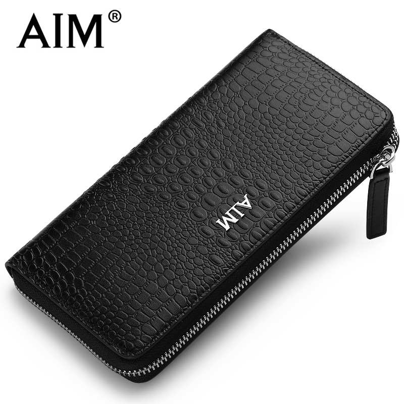 AIM Luxury font b Men s b font Business Leather font b Wallet b font Crocodile