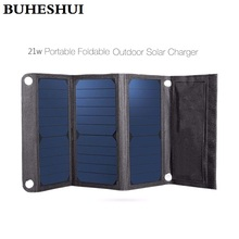 BUHESHUI Sunpower 21W Foldable Solar Panel Charger For iPhone/Mobile Power Bank Universal Outdoor Dual USB New Free Shipping