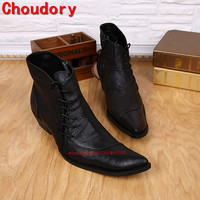 Choudory Botas Hombre Mens Winter Footwear High Top Leather Military Boots Black Square Toe Male Zapatos Italian Boots Mens