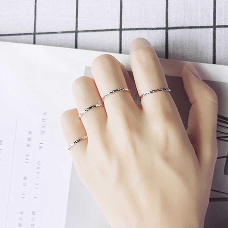 แท้ 100% แท้ 925 แหวนเงินแฟชั่น Glint Gleam Fine แหวนเล็กๆน้อยๆแหวนผู้หญิงเครื่องประดับ rose Gold