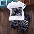 Мальчик одежды 2016 летние детская одежда устанавливает футболка + брючный костюм комплект одежды звезда печатных одежда новорожденного спортивные костюмы
