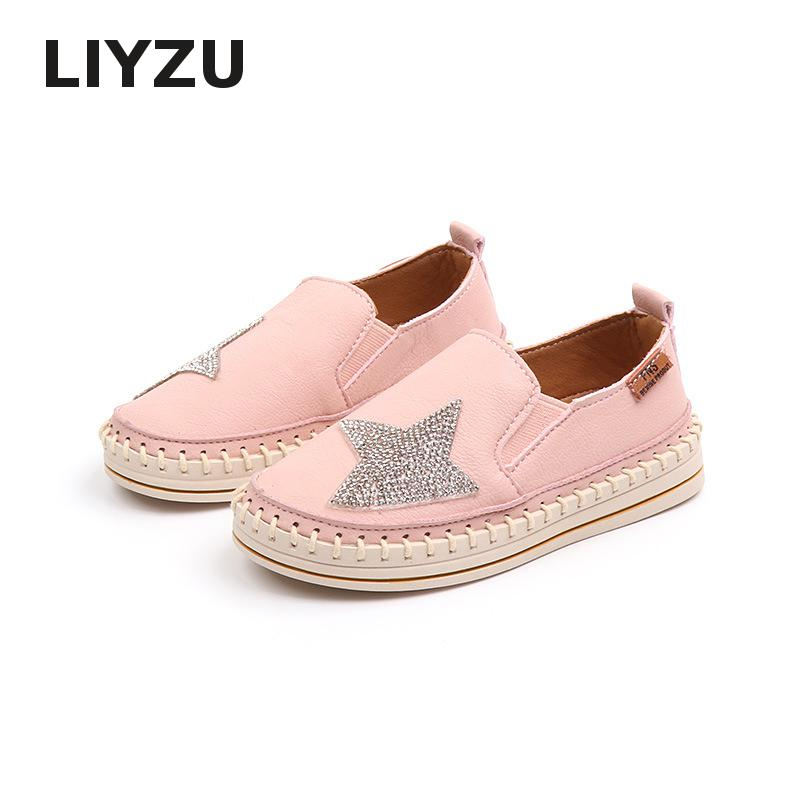 Radient 2019 Nieuwe Collectie Kids Schoenen Baby Meisjes Prinses Casual Schoenen Zacht Leer Bodem Strass Ster Jongens Loafers Een-legged Schoenen