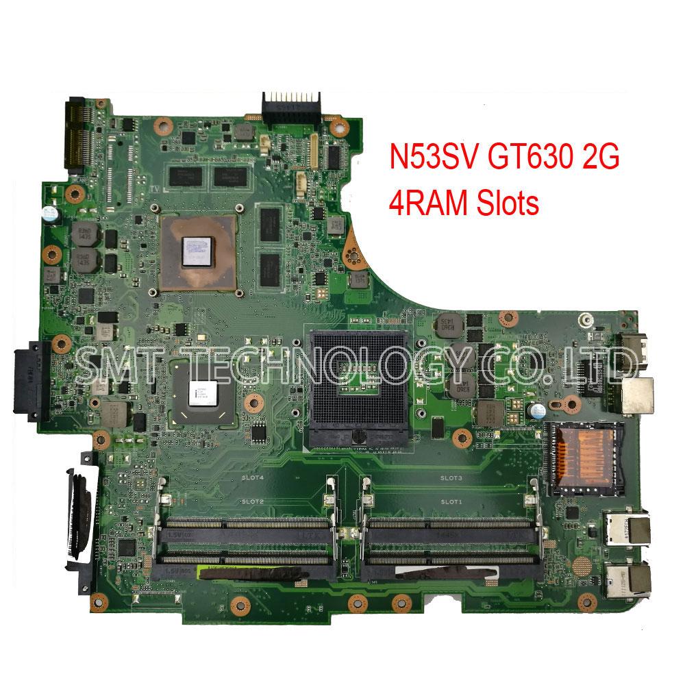 Prix pour D'origine N53SV Carte Mère Pour ASUS N53S N53SN N53SM Avec 4 SLOT de RAM GT630M 2 GB Entièrement essai