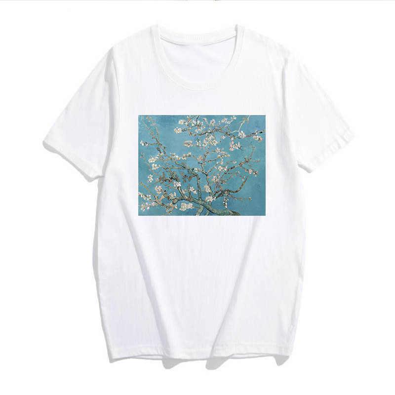 Lato kobiet Harajuku retro Van Gogh drukowanie obraz olejny zabawa kwiat osobowość moda duże rozmiary S-2XL O-neck nowy T-shirt