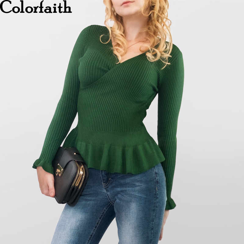 Colorfaith Women Pullovers Sweater New 2019 Knitting Autumn Winter Ruffles V-Neck Multi Colors Casual Elegant Ladies Tops SWA20